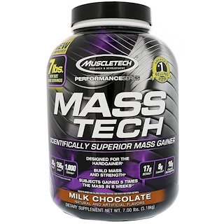 Muscletech, Mass-Tech, Scientifically Superior Mass Gainer, Milk Chocolate, 7.00 lbs (3.18 kg)