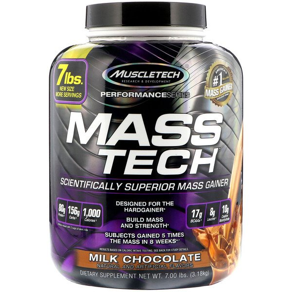 Mass-Tech, Aumentador de masa muscular, Leche con chocolate, 7.00 lbs (3,18 kg)