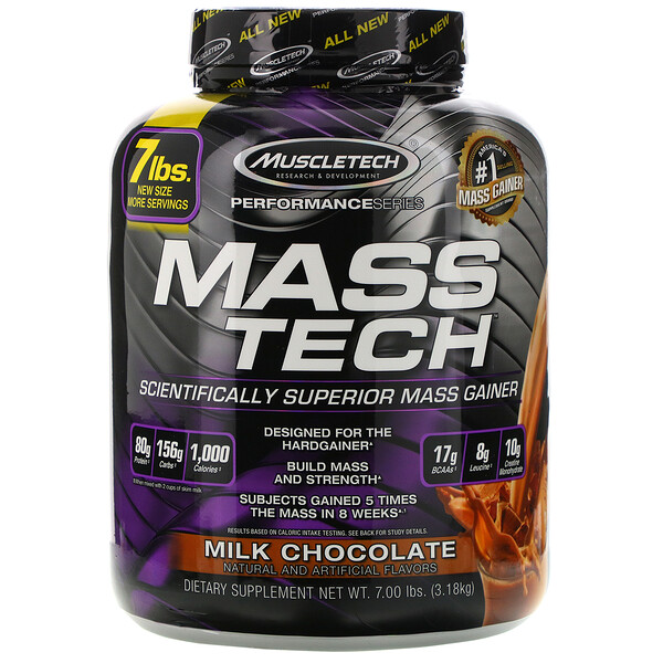 Mass-Tech, Scientifically Superior Mass Gainer Protein Powder, Milk Chocolate, 7.00 lb (3.18 kg)
