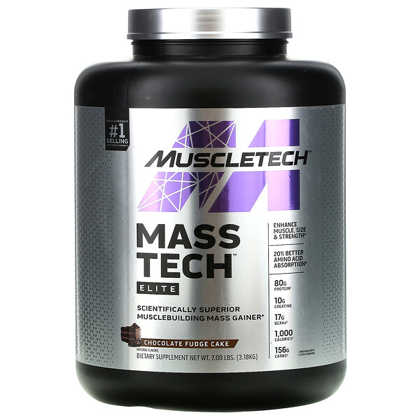 Mass-Tech Elite, Scientifically Superior Musclebuilding Mass Gainer, Chocolate Fudge Cake, 7.00 lb (3.18 kg)