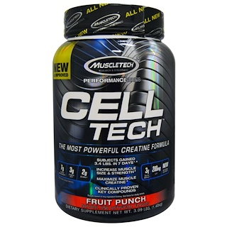 Muscletech, Cell Tech, The Most Powerful Creatine Formula, Fruit Punch, 3.09 lbs (1.40 kg)
