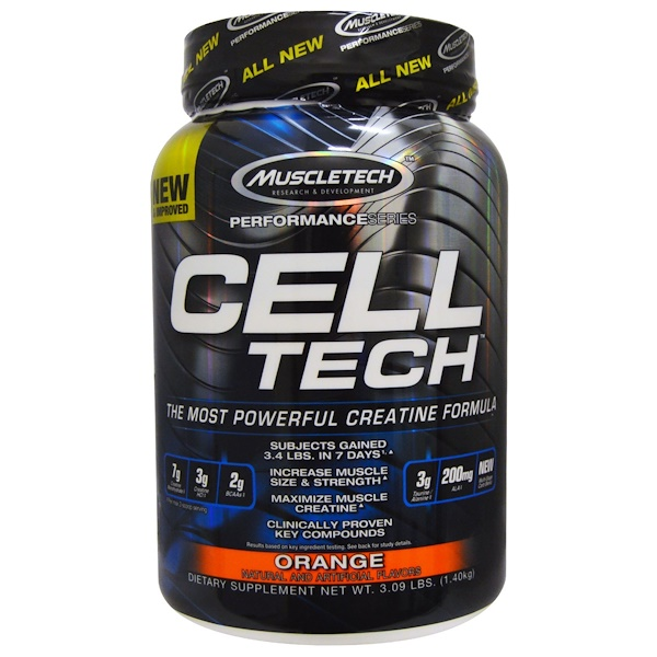 Muscletech, Cell Tech, The Most Powerful Creatine Formula, Orange, 3、09 lbs (1、40 kg)