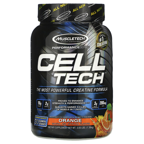 Muscletech, Performance Series, CELL-TECH, The Most Powerful Creatine Formula, Orange, 3.00 lbs (1.36 kg) (Discontinued Item)