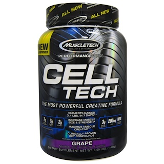 Muscletech, Cell Tech, The Most Powerful Creatine Formula,Grape, 3.09 lbs (1.40 kg)