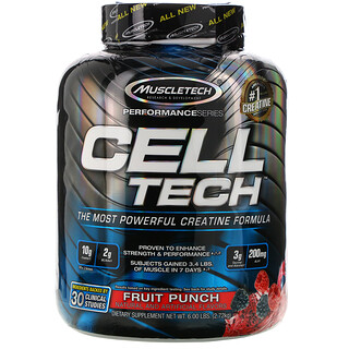 Muscletech, سلسلة الأداء، CELL-TECH، تركيبة الكرياتين الأكثر فعالية، كوكتيل الفواكه، 6.00 رطل (2.72 كجم)
