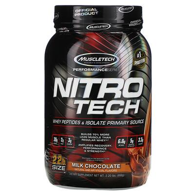 Nitro Tech, сывороточный изолят + рост сухой мышечной массы, вкус молочного шоколада, 907 г (2 фунта)