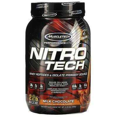Muscletech серия Performance, NitroTech, основной источник сывороточных пептидов и изолята, вкус молочного шоколада, 998г (2,20фунта)