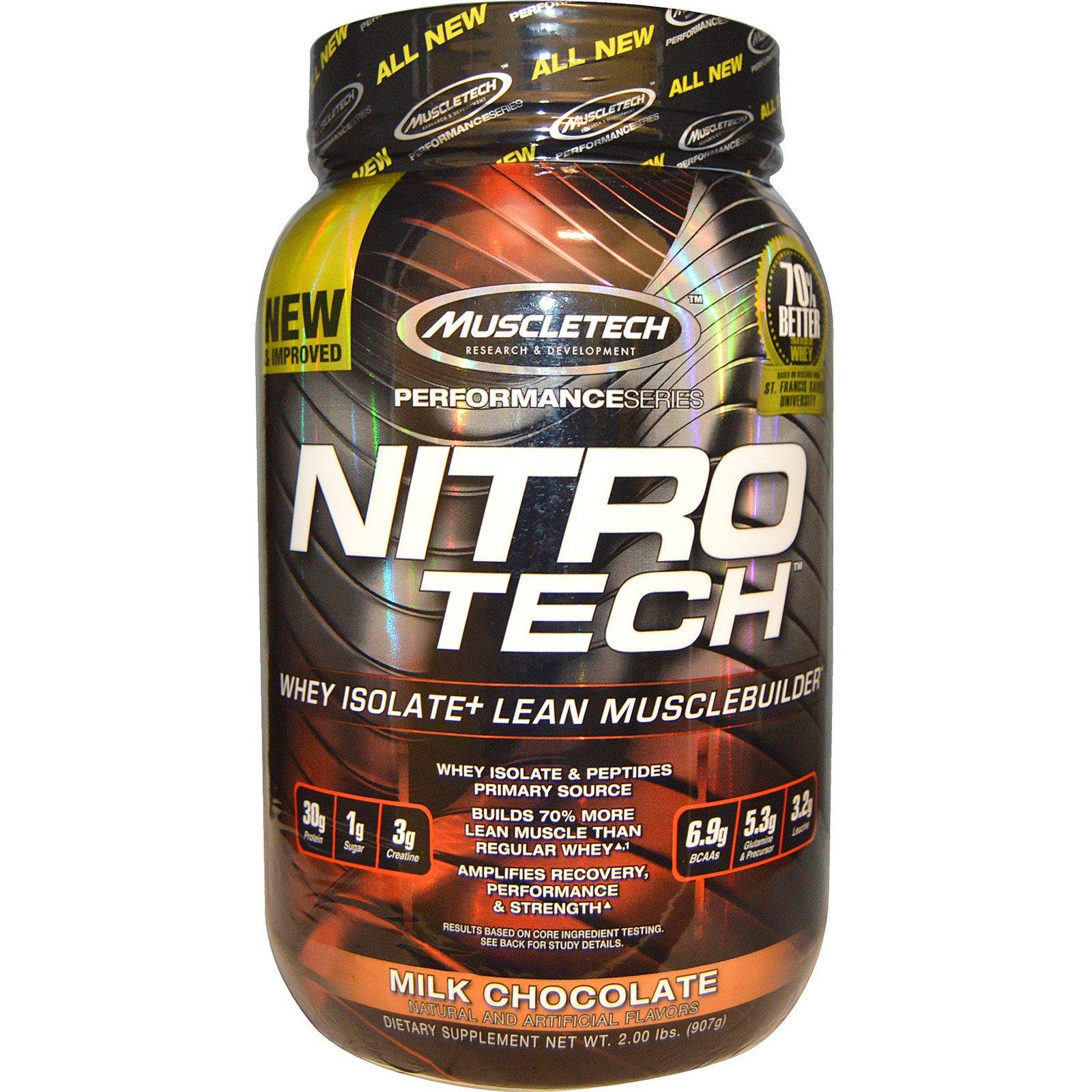 Muscletech, Nitro -Tech, сывороточный изолят для наращивания сухой мышечной массы, вкус молочного шоколада, 2.0 фунта (907 г)