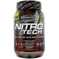 Nitro -Tech, сывороточный изолят для наращивания сухой мышечной массы, вкус молочного шоколада, 2.0 фунта (907 г) - фото