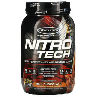 Muscletech, Performance Series, Nitro Tech, Whey Peptides & Isolate Primary Source, Milk Chocolate, 2.20 lbs (998 g)