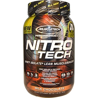 Muscletech, Nitro Tech, Whey Isolate+ Lean Musclebuilder, Milk Chocolate, 2.00 lbs (907 g)