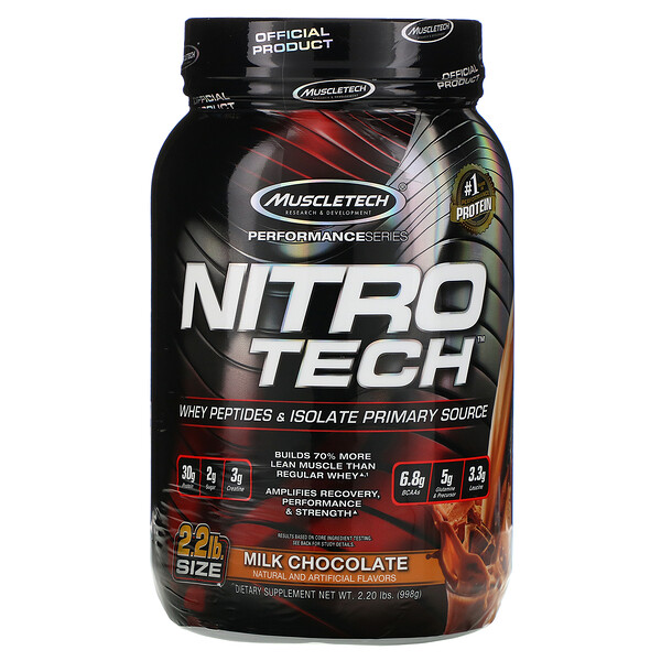 Nitro Tech, Whey Isolate + Lean Musclebuilder, Milk Chocolate, 2.00 lbs (907 g)