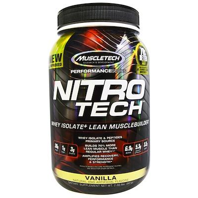 Nitro Tech, сывороточный изолят + смесь для роста сухой мышечной массы, ванильный вкус, 907 г (2 фунта)