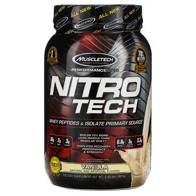 Muscletech Nitro Tech, сывороточный изолят + смесь для роста сухой мышечной массы, ванильный вкус, 907г (2фунта)