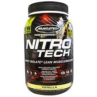 Nitro Tech, сывороточный изолят + наращивание сухой мышечной массы, со вкусом ванили, 2,00 фунта (907 г) - фото