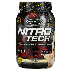 Мусклетек, Nitro Tech, Whey Isolate + Lean MuscleBuilder, Vanilla, 2.00 lbs (907 g) отзывы покупателей