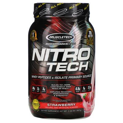 Muscletech Nitro-Tech, сывороточный изолят + смесь для роста сухой мышечной массы, клубничный вкус, 907г (2фунта)