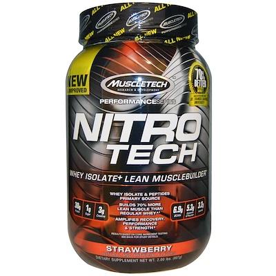 Nitro-Tech, сывороточный изолят + смесь для роста сухой мышечной массы, клубничный вкус, 907 г (2 фунта)