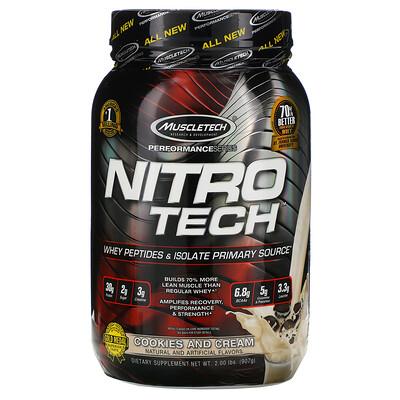 Muscletech Nitro Tech, сывороточный изолят + смесь для набора сухой мышечной массы, вкус печенья с кремом, 907г (2фунта)