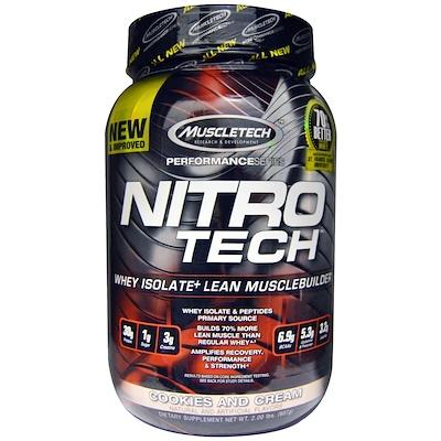 Nitro Tech, сывороточный изолят + смесь для набора сухой мышечной массы, вкус печенья с кремом, 907 г (2 фунта)