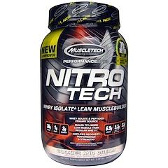 Muscletech, 二トロテック(Nitro-Tech),  乳清分離株+脂肪の少ない筋肉の増強剤, クッキー&クリーム, 2.00ポンド(907 g)