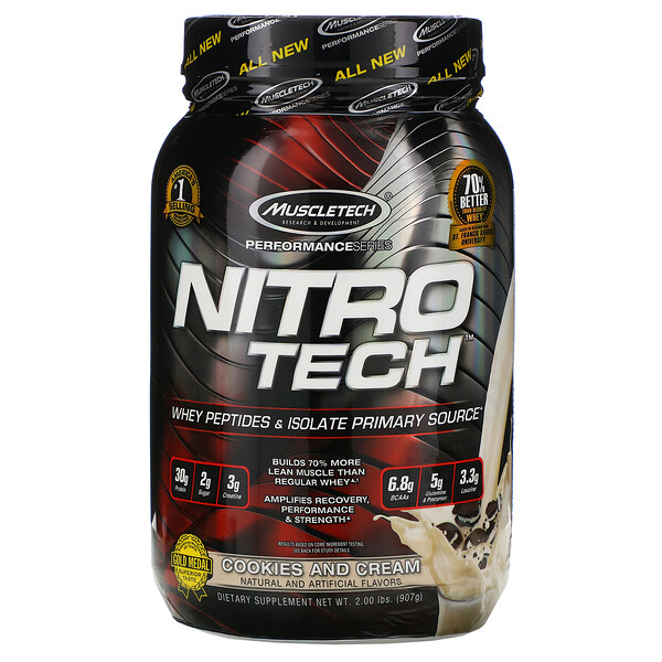 Nitro Tech, Whey Isolate + Lean Muscle Builder, Cookies and Cream, 2.00 lbs (907 g)