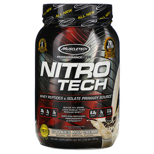 Мусклетек, Nitro Tech, Whey Isolate + Lean Muscle Builder, Cookies and Cream, 2.00 lbs (907 g) отзывы покупателей