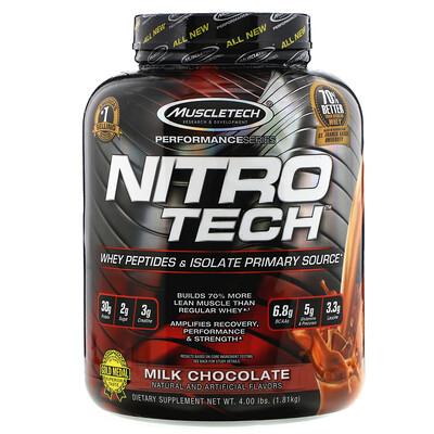 Купить NitroTech, основной источник пептидов и изолятов сывороточного белка, молочный шоколад, 1.81кг (4.00 фунта)