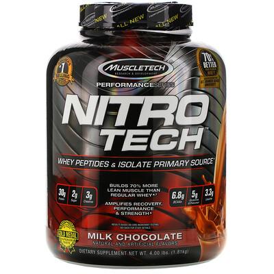 Muscletech NitroTech, основной источник пептидов и изолятов сывороточного белка, молочный шоколад, 1,81кг (4,00 фунта)