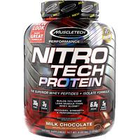 NitroTech, основной источник сывороточного изолята и пептидов, молочный шоколад, 4,00 фунта (1,81 кг) - фото