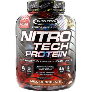 Muscletech, ニトロテック、ホエイペプチドとアイソレートの、プライマリーソース、ミルクチョコレート、4.00 lbs (1.81 kg)