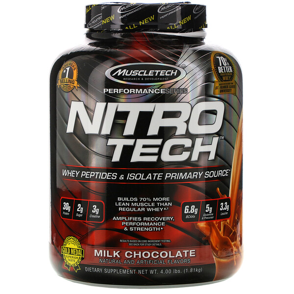 Muscletech, NitroTech, Whey Peptides & Isolate Primary Source, Milk Chocolate, 4.00 lbs (1.81 kg)