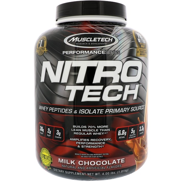 Muscletech, NitroTech, Whey Peptides & Isolate Primary Source, Milk Chocolate, 4、00 lbs (1、81 kg)