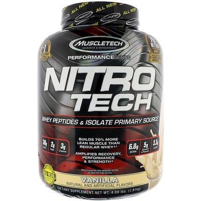 Nitro Tech, основной источник пептидов и изолятов сывороточного белка, ваниль, 1,81 кг (4 фунта)
