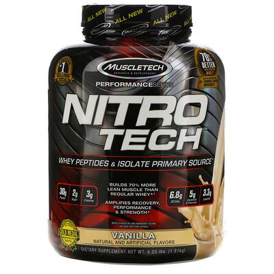 Фото - Nitro Tech, основной источник пептидов и изолята сывороточного белка со вкусом ванили, 1,81 кг (4 фунта) cell tech мощнейшая креатиновая формула со вкусом апельсина 1 36кг 3 00фунта