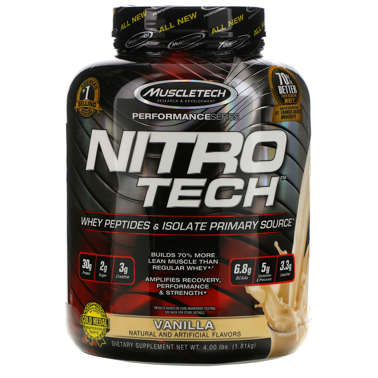 Muscletech, Nitro Tech, Whey Peptides & Isolate Primary Source, Vanilla, 4  lbs (1.81 kg) - Ultimate Sup