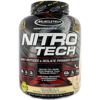 Muscletech, Nitro Tech, Whey Peptides & Isolate Primary Source, Vanilla, 4 lbs (1.81 kg)