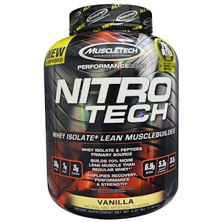 Muscletech, Nitro-Tech. Whey Isolate + Lean Muscle Builder, Vanilla, 3.97 lbs (1.8 kg)