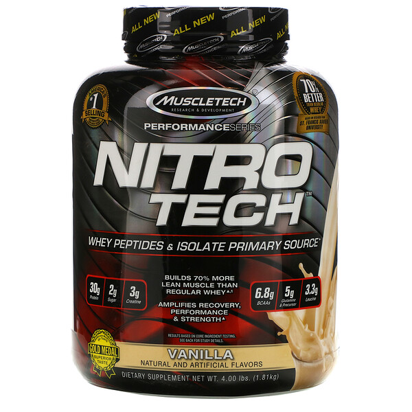 Nitro Tech, Whey Peptides & Isolate Primary Source, Vanilla, 4 lbs (1.81 kg)