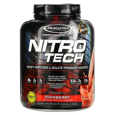 Muscletech серия Performance, NitroTech, основной источник сывороточных пептидов и изолятов, клубничный вкус, 1,81кг (4фунта)