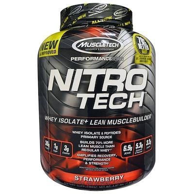 Nitro Tech, сывороточный изолят + рост сухой мышечной массы, вкус клубники, 1,80 кг (3,97 фунта)