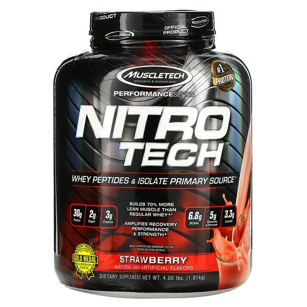 Muscletech, Performance Series, Nitro Tech, Whey Peptides & Isolate Primary Source, Strawberry, 4.00 lbs (1.81 kg)