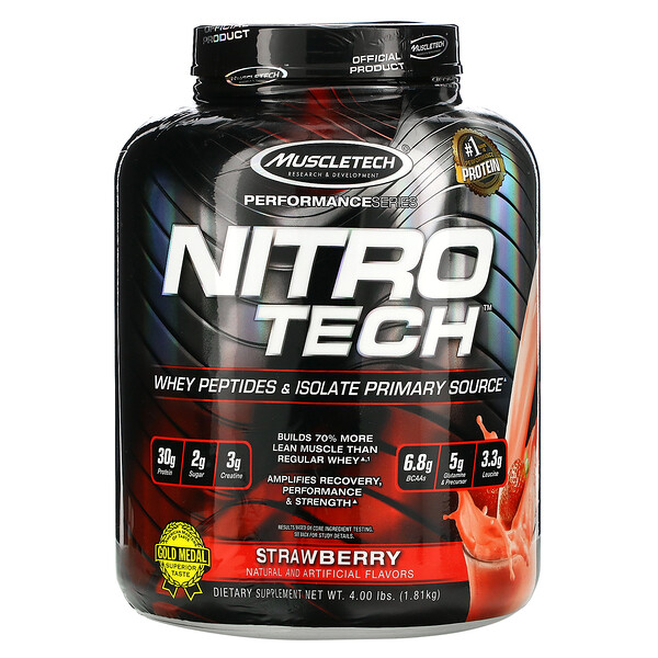 Nitro Tech, Whey Peptides & Isolate Primary Source, Strawberry, 4.00 lbs (1.81 kg)