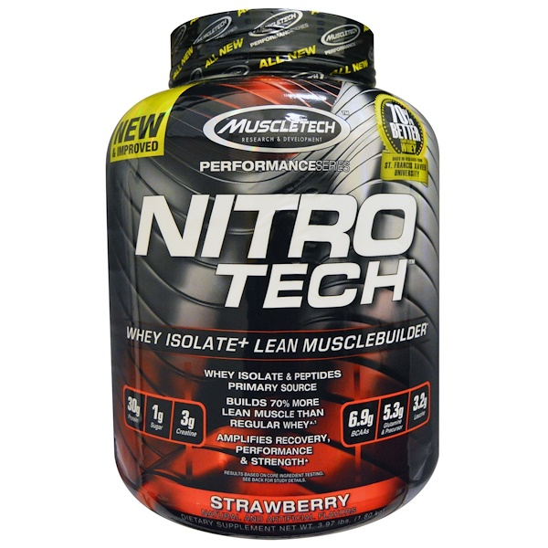 Nitro Tech, Whey Isolate + Lean Muscle, Strawberry, 3.97 lbs (1.80 kg)