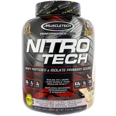 Nitro Tech, сывороточный изолят + смесь для роста сухой мышечной массы, вкус печенья с кремом, 1,80 кг (3,97 фунта)