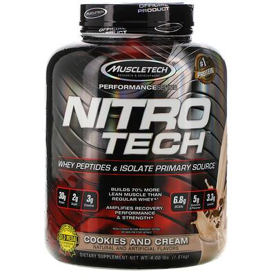 Muscletech Nitro Tech, сывороточный изолят + смесь для роста сухой мышечной массы, вкус печенья с кремом, 1,80кг (3,97фунта)