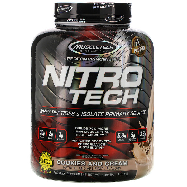 Muscletech, Nitro Tech, Whey Isolate + Lean Musclebuilder, Biscuits et crème, 3,97 lbs (1,80 kg)