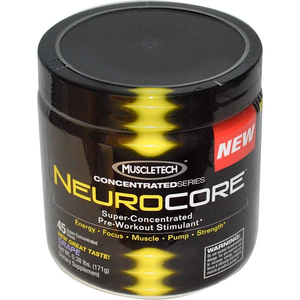 Muscletech, ConcentratedSeries, Neurocore, Super-Concentrated Pre-Workout Stimulant, Grape, 0.38 lbs (171 g) (Discontinued Item)