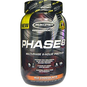 Мусклетек, Performance Series, Phase8, Multi-Phase 8-Hour Protein,  Milk Chocolate, 2.00 lbs (907 g) отзывы покупателей