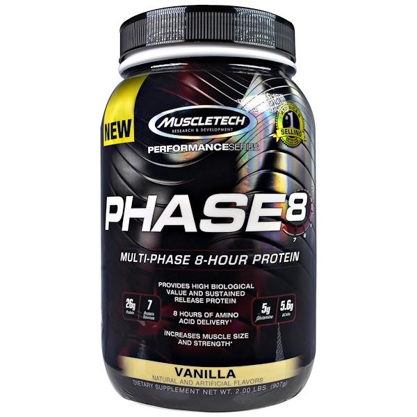 Muscletech, Performance Серия, Фаза-8, многофазный 8-часовой белок, Ваниль, 907 г (2,0 фунта) (Discontinued Item)